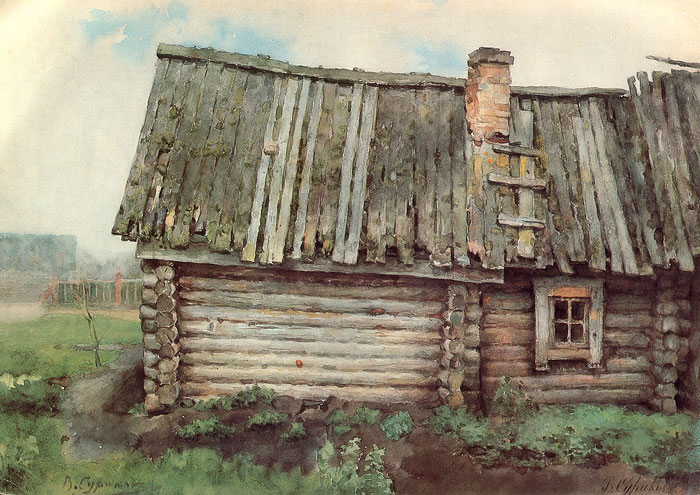 Vasily surikov the log cabin for Log cabin painting